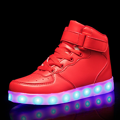 cheap New Arrivals-Girls' LED Shoes PU Sneakers Little Kids(4-7ys) / Big Kids(7years +) Black / White / Red Fall