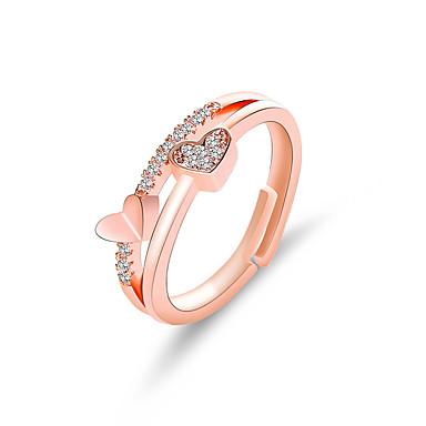 levne Dámské šperky-Dámské Prsten 1ks Stříbrná Růžové zlato Slitina stylové Denní Šperky Klasika