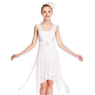 バレエ ドレス 女性用 性能 弾性ある / メッシュ / ライクラ サイドドレープ / クリスクロス / 波柄 ノースリーブ ハイウエスト 髪飾り / ドレス