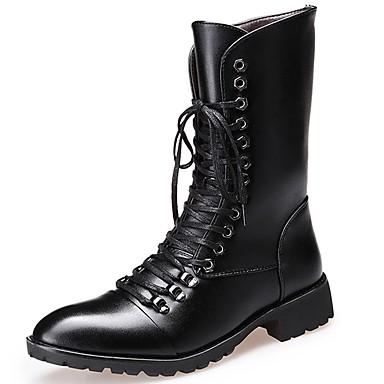 Muškarci Fashion Boots Sintetika Jesen zima Ležerne prilike / Uglađeni Čizme Ugrijati Čizme do pola lista Crn / Zabava i večer / Zabava i večer / Vojničke čizme