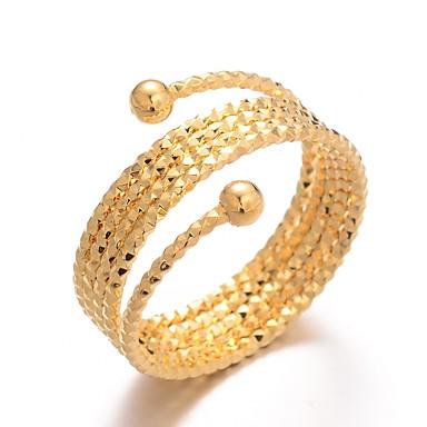 billige Motering-Dame Ring Justerbar ring vikle ring 1pc Gull Gullbelagt damer Luksus Overdrivelse Bryllup Gave Smykker Klassisk Søtt
