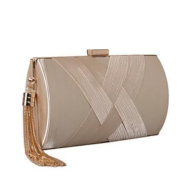 저렴한 가방-여성용 태슬 실크 / 공단 이브닝 백 한 색상 블랙 / 아몬드 / 실버 / 가을 겨울