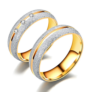 Couple S White Cubic Zirconia Hollow Out Ring Titanium Steel Steel