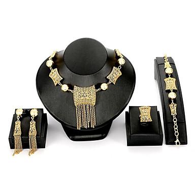 Žene Zlato Sintetički dijamant Svadbeni nakit Setovi Klasičan dame Moda Talijanski Naušnice Jewelry Zlato Za Vjenčanje Party 1set