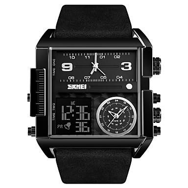 cheap Jewelry & Watches-SKMEI Men's Sport Watch Military Watch Digital Watch Digital Oversized Genuine Leather Black / Brown 30 m Water Resistant / Waterproof Alarm Calendar / date / day Analog - Digital Luxury Fashion fancy