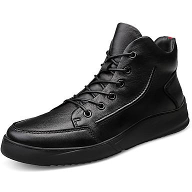 Muškarci Kožne cipele Mekana koža Jesen zima Sportski / Vintage Sneakers Ugrijati Crn / Atletski / Udobne cipele