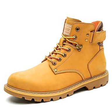 Muškarci Vojničke čizme Mekana koža Jesen zima Klasik / Ležerne prilike Čizme Ugrijati Čizme do pola lista Crn / Bijela / Vanjski / Desert Boots