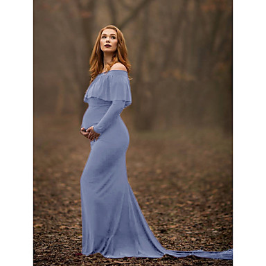 preiswerte Umstandsmode-Damen Schwangerschaft Elegant Hülle Kleid Solide Maxi