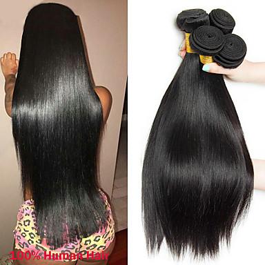 4 paketića Peruanska kosa Ravan kroj Virgin kosa Remy kosa Ljudske kose plete Bundle kose Jedan Pack Solution 8-28 inch Prirodna boja Isprepliće ljudske kose Odor Free Novi Dolazak Gust Proširenja