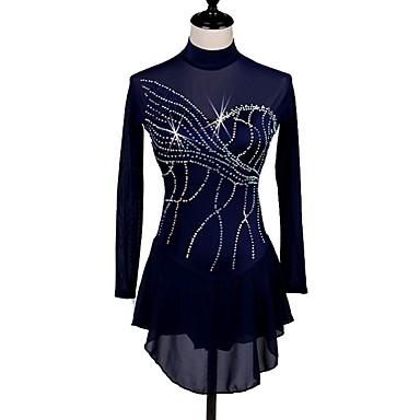 Plesni kostimi Kombinezon s drgim kamenjem / Korcsolyázás Žene / Djevojčice Trening Chinlon / Til Kristali / Rhinestones Dugih rukava Visok Haljina