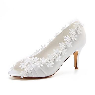 f94b64be8fc Women s Satin Spring   Summer Wedding Shoes Stiletto Heel Peep Toe  Stitching Lace Ivory   Party   Evening 7056525 2019 –  49.99