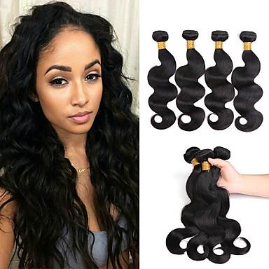 4 paketića Peruanska kosa Tijelo Wave Ljudska kosa Netretirana  ljudske kose Headpiece Ljudske kose plete Styling kose 8-28 inch Prirodna boja Isprepliće ljudske kose Jednostavan novi Novi Dolazak