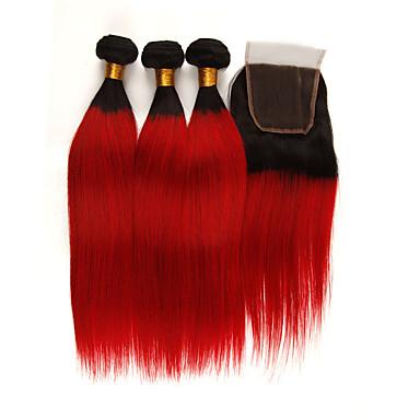 povoljno Ekstenzije od ljudske kose-3 paketi s zatvaranjem Brazilska kosa Ravan kroj Remy kosa Ekstenzije od ljudske kose Kosa potke zatvaranje 10-24 inch Isprepliće ljudske kose Nježno Najbolja kvaliteta Novi Dolazak Proširenja