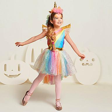 Princeza Unicorn Cosplay Nošnje Dječji Djevojčice Haljine Mesh Božić Halloween Karneval Festival / Praznik Til Pamuk Duga Karneval kostime Duga Jednorog