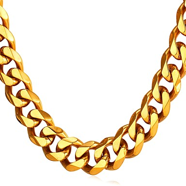 cheap Necklaces-Men's Chain Necklace Cuban Link Mariner Chain Fashion Hip Hop Stainless Steel Black Gold Silver 55 cm Necklace Jewelry 1pc For Gift Daily