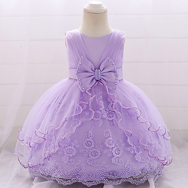 hesapli Bebekl Kıyafetleri-Bebek Genç Kız Actif / Temel Parti / Doğum Dünü Solid Dantel Kolsuz Diz-boyu Pamuklu Elbise Doğal Pembe