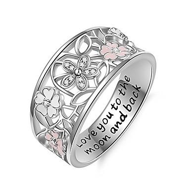 billige Motering-Dame Ring Micro Pave Ring 1pc Hvit Kobber Sirkelformet Europeisk trendy Romantikk Bryllup Stevnemøte Smykker Klassisk Søtt