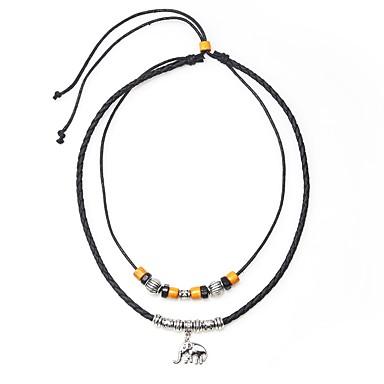 levne Pánské šperky-Pánské Náhrdelníky s přívěšky Vintage náhrdelník Boncuklar Slon umělecké Jednoduchý Kožené Slitina Černá 45 cm Náhrdelníky Šperky 1ks Pro Dar Jdeme ven