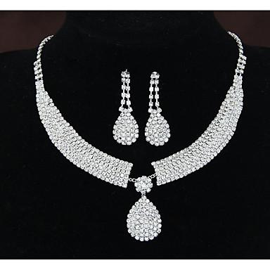 Žene Kubični Zirconia Ogrlice s privjeskom Svadbeni nakit Setovi visiti Naušnice Teniski lanac Ispustiti blažen Jedinstven dizajn Imitacija dijamanta Naušnice Jewelry Obala Za Vjenčanje Party 1set