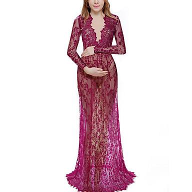 voordelige Zwangerschapskleding-Dames Elegant Schede Jurk - Effen Maxi