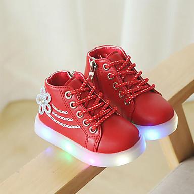 voordelige Babyschoenentjes-Meisjes Comfortabel PU / Synthetisch Sneakers Peuter (9m-4ys) / Little Kids (4-7ys) Strass / Veters Zwart / Rood / Roze Herfst winter