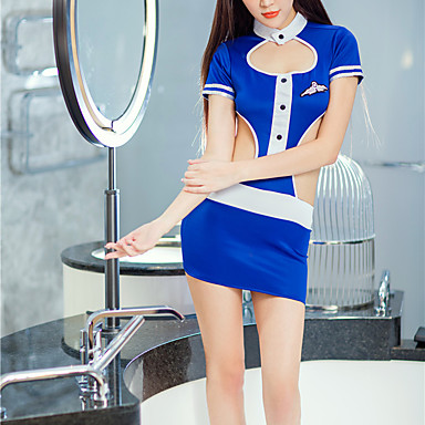 Žene Otvorena leđa Super seksi Seksi spavaćica / kineska haljina Noćno rublje Color block Plava One-Size
