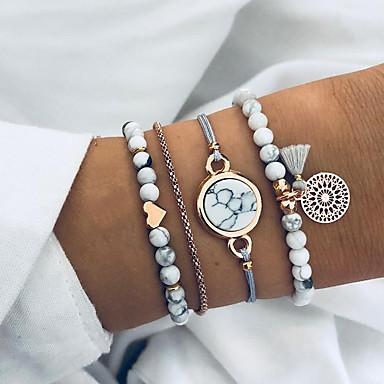 levne Dámské šperky-4ks Dámské Korálkový náramek Srdce Punk Módní Kámen Náramek šperky Bílá Pro Narozeniny Street