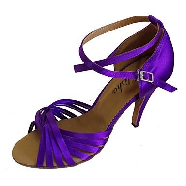 ราคาถูก Trendy Shoes-สำหรับผู้หญิง รองเท้าเต้นรำ ซาติน ลาติน ส้น ส้นป้าน ตัดเฉพาะได้ สีชมพู / สีกรมท่า / Almond / EU38