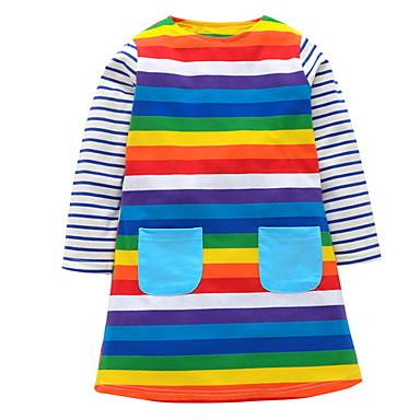 tanie Bestsellery-Dzieci Dla dziewczynek Podstawowy Solidne kolory Długi rękaw Sukienka Tęczowy