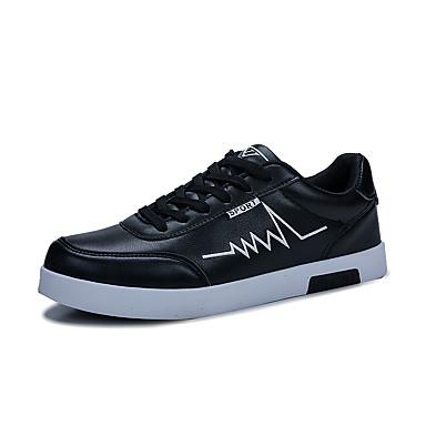 Ανδρικά Φως πέλματα PU Ανοιξη καλοκαίρι Αθλητικό Αθλητικά Παπούτσια Μαύρο / Μαύρο και Άσπρο / Άσπρο / Μπλε / ΕΞΩΤΕΡΙΚΟΥ ΧΩΡΟΥ
