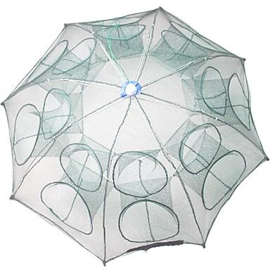 preiswerte Fischnetze-Faltendes Regenschirm-Fischen-Krabben-Garnelen-Fallen-Netz 0.65 m Nylon 3*3 mm Tragbar Leichte Bedienung 16 Löcher