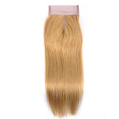 Laflare Brazilska kosa 4x4 Zatvaranje Ravan kroj Središnji dio Srednji dio Švicarska čipka Remy kosa Žene Nježno / Najbolja kvaliteta / Novi Dolazak Božić / Vjenčanje / Halloween / Za crnkinje