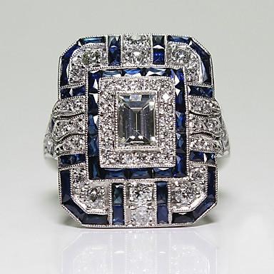 billige Motering-Dame Ring tommelfingerring 1pc Blå Legering Sirkelformet Europeisk trendy Romantikk Bryllup Stevnemøte Smykker Klassisk Emerald Cut Pave Søtt