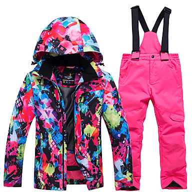 3cd002a707 ARCTIC QUEEN Boys  Girls  Ski Jacket with Pants Windproof Warm  Breathability Skiing Camping   Hiking Snowboarding POLY Eco-friendly  Polyester Tracksuit Bib ...