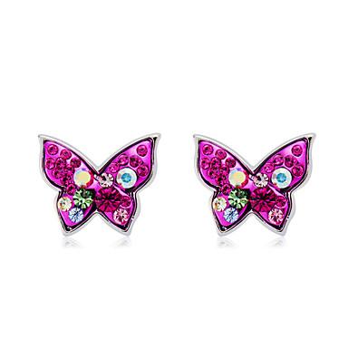 Žene Više boja Kubični Zirconia Sitne naušnice fantazija Rukav leptir slatko Moda Elegantno Imitacija dijamanta Naušnice Jewelry Fuksija Za Dnevno Formalan 2pcs
