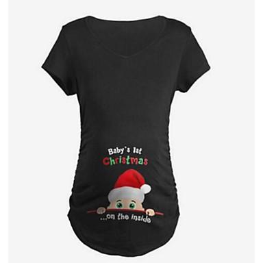 baratos Roupas para Gestantes-Mulheres Gravidez Camiseta Básico Sólido / Geométrica Branco