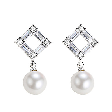 levne Dámské šperky-Klasika Náušnice - Perly, Zirkon, S925 Sterling Silver Diamant Evropský, Módní, Elegantní Bílá / Černá Pro Párty Dar Dámské / 1 Pair