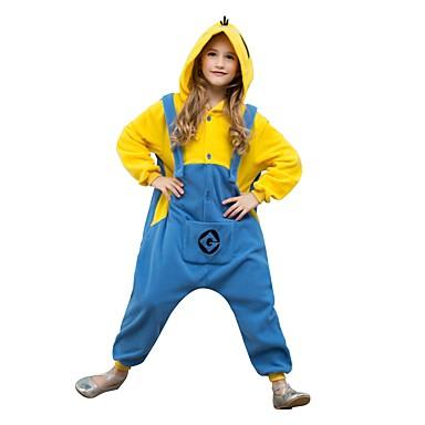 Kigurumi plišana pidžama Crtani film Mini žuti muškarci Onesie pidžama Flis Yellow+Blue Cosplay Za Dečki i cure Zivotinja Odjeća Za Apavanje Crtani film Festival / Praznik Kostimi