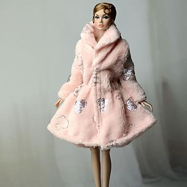 voordelige Poppenaccessoires-Pop Outfit Pop jas Jasje / jack Voor Barbie Roze Geweven stof Katoenen Doek Polyesteri Jas Voor voor meisjes Speelgoedpop