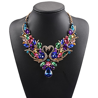 cheap Statement Necklaces-Women's Statement Necklace Bib necklace Swan Animal Rainbow Statement Ladies Luxury Bohemian Synthetic Gemstones Rhinestone Alloy Rainbow White Red Red Necklace & Earrings Colorful Necklace & Earrings