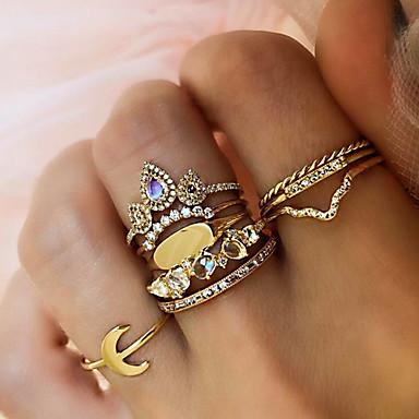 billige Motering-Dame Statement Ring Ring Set Multi-fingerring Kubisk Zirkonium 9pcs Gull Strass Legering Dråper damer Personalisert Uvanlig Daglig Aftenselskap Smykker Retro Dråpe Kul
