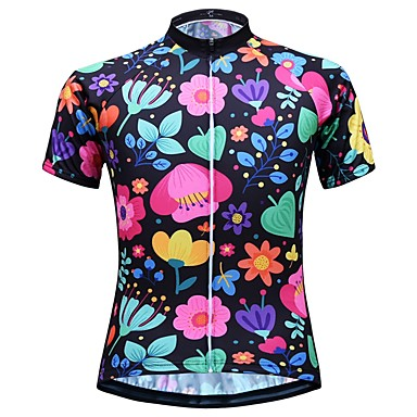 JESOCYCLING Women s Short Sleeve Cycling Jersey - White Black Floral    Botanical Bike Top Quick Dry Sports 100% Polyester Mountain Bike MTB Road  Bike ... 65975e088