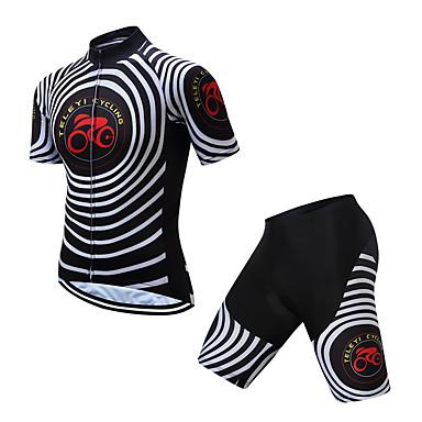 TELEYI Muškarci Kratkih rukava Biciklistička majica s kratkim hlačama Poliester Crno bijela / Bicikl Sportska odijela Ovlaživanje Quick dry Sportski Krug Brdski biciklizam biciklom na cesti Odjeća