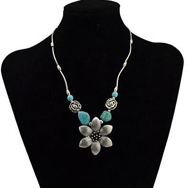 povoljno Modne ogrlice-Žene Tirkiz Ogrlice s privjeskom Retro Cvijet dame Vintage Legura Pink 43+5 cm Ogrlice Jewelry 1pc Za Dnevno