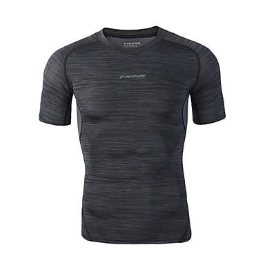 FANNAI Muškarci Uski okrugli izrez Kompresijska košulja Jednobojni Crn Trčanje Fitness Trening u teretani T-majica Kompresivna odjeća Veći konfekcijski brojevi Kratkih rukava Sport Odjeća za