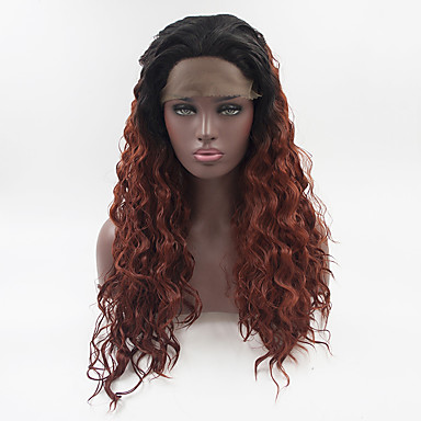 Synthetic Lace Front Wig Women s Loose Wave   Loose Curl Ombre Free Part  180% Density Synthetic Hair 18-26 inch Adjustable   Heat Resistant    Elastic Ombre ... 23221a348