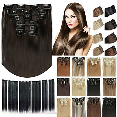 cheap Synthetic Extensions-6pcs/lot 16 clip in hair extension synthetic hair 24 inch long straight hairpiece