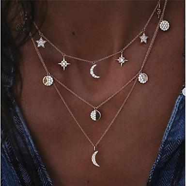 levne Dámské šperky-Dámské Průsvitné vrstvené Náhrdelníky Vícevrstvé Plavání MOON Yıldız Crescent Moon Severní hvězda dámy umělecké Geometrik Moderní Slitina Zlatá Stříbrná 40 cm Náhrdelníky Šperky 1ks Pro Denní Plesov