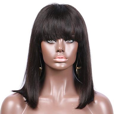 Remy kosa Lace Front Perika Bob frizura stil Brazilska kosa Ravan kroj Perika 130% Gustoća kose Prirodna linija za kosu S bijelim čvorovima Žene Kratko Perike s ljudskom kosom Šiške beikashang