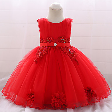 cheap Baby & Toddler Girl-Baby Girls' Active / Basic Party / Birthday Solid Colored Lace Sleeveless Knee-length Cotton Dress Red